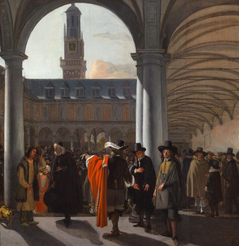 De binnenplaats van de beurs te Amsterdam, 1653, Emanuel de Witte,olieverf op paneel, Museum Boijmans Van Beuningen, bruikleen Stichting Willem van der Vorm/foto Studio Tromp, Rotterdam
