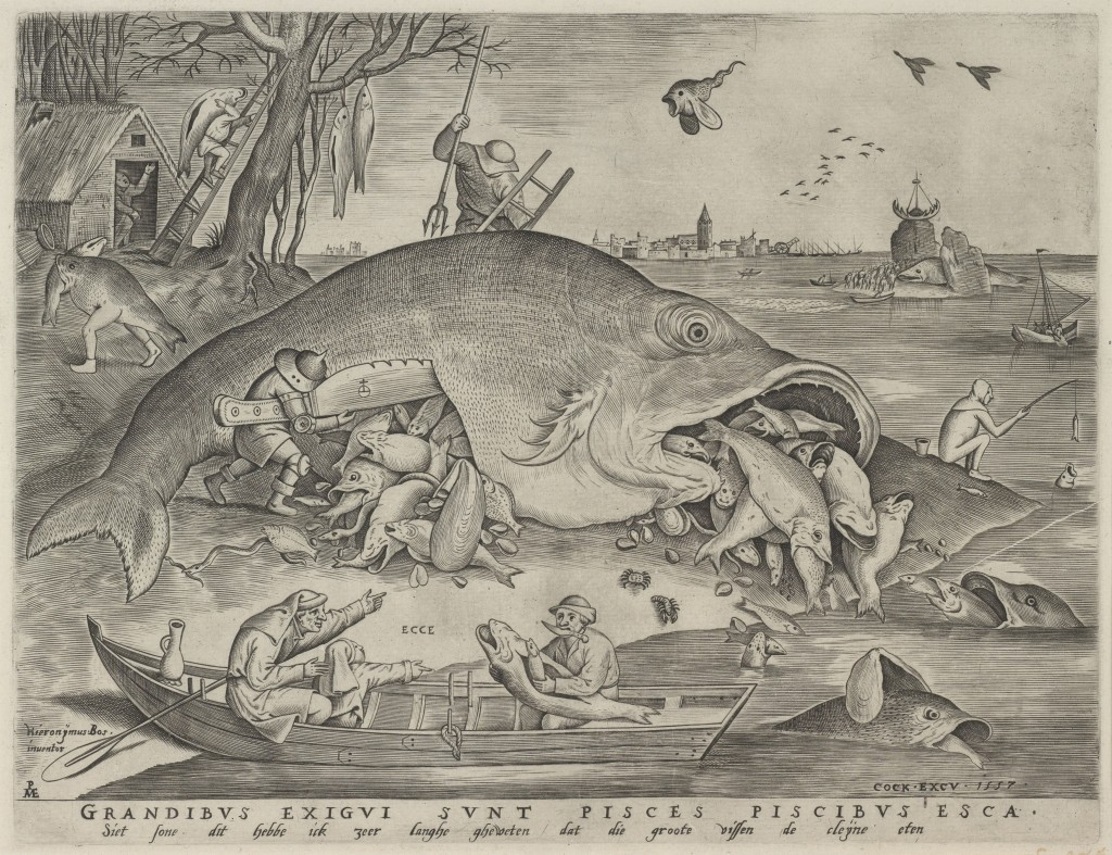 Pieter van der Heyden naar Pieter Bruegel, 'De grote vissen etende kleine', 1557, gravure, Museum Boijmans Van Beuningen