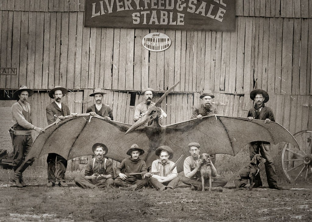 Fake nieuwsfoto gevangen Pteranodon. Bron: http://civilwarhorror.blogspot.nl/2012/09/another-photo-of-cowboys-with.html
