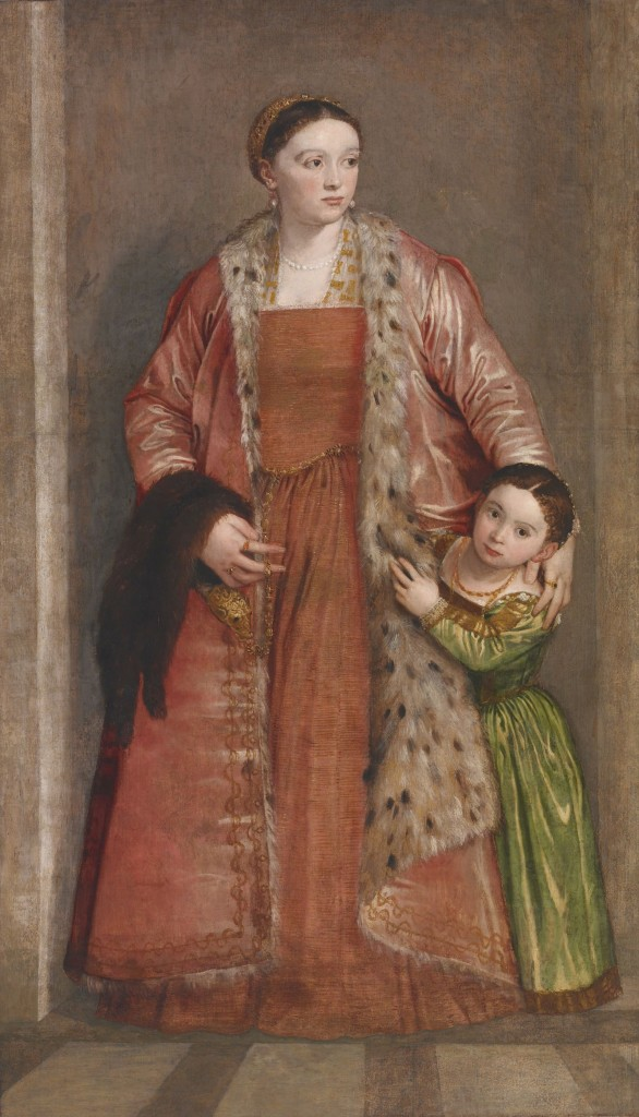 Paolo Veronese, Portrait of Countess Livia da Porto Thiene and her Daughter Deidamia, 1552, oil on canvas, Painted surface H including addition across bottom: 82 1/16 x W: 47 5/8 in. (208.4 x 121 cm), Acquired by Henry Walters, 1921 (The Walters Art Museum, 37.541)