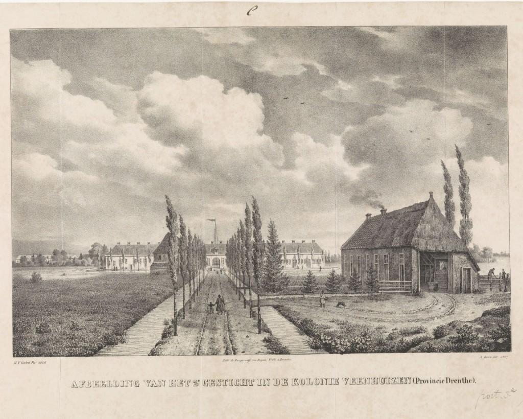Het 'Tweede Gesticht' in Veenhuizen, in 1827, nu locatie van het Nationaal Gevangenismuseum