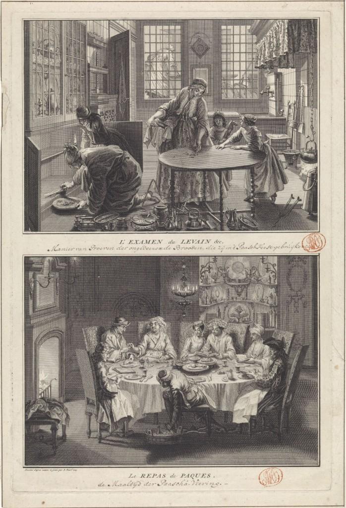 Voorbereiding opPesach en de viering van de Pesachmaaltijd, Bernard Picart, 1725, ets en gravure