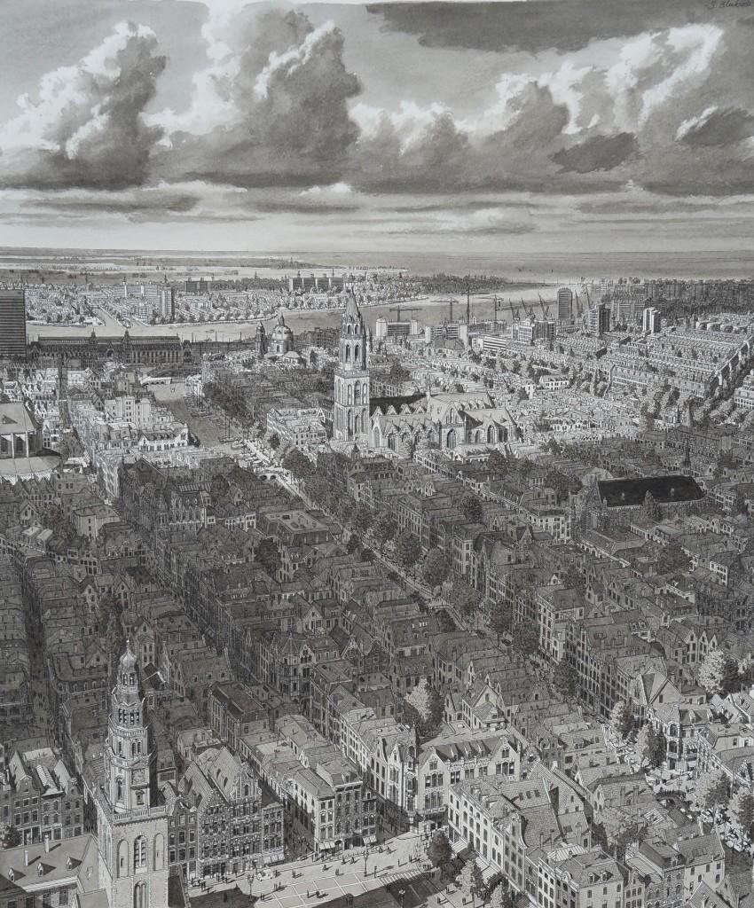 Stefan Bleekrode, Stad in Nederland, Wolken, 48 x 35 cm, 2017