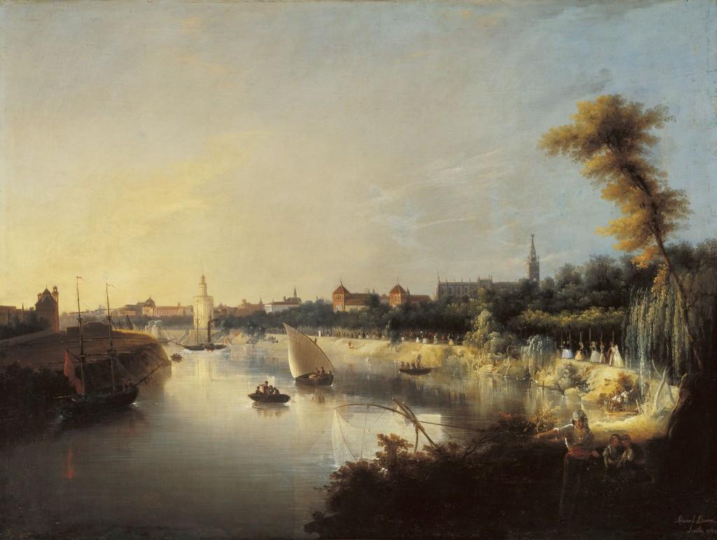 Manuel Barrón y Carillo, View of the River Guadalquivir,oil on canvas, 1854, copyright Colleción Carmen Thyssen-Bornemisza